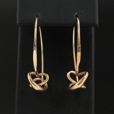 Ed Lavin Sterling with 14K Gold Overlay Dangle Secret Heart Earrings