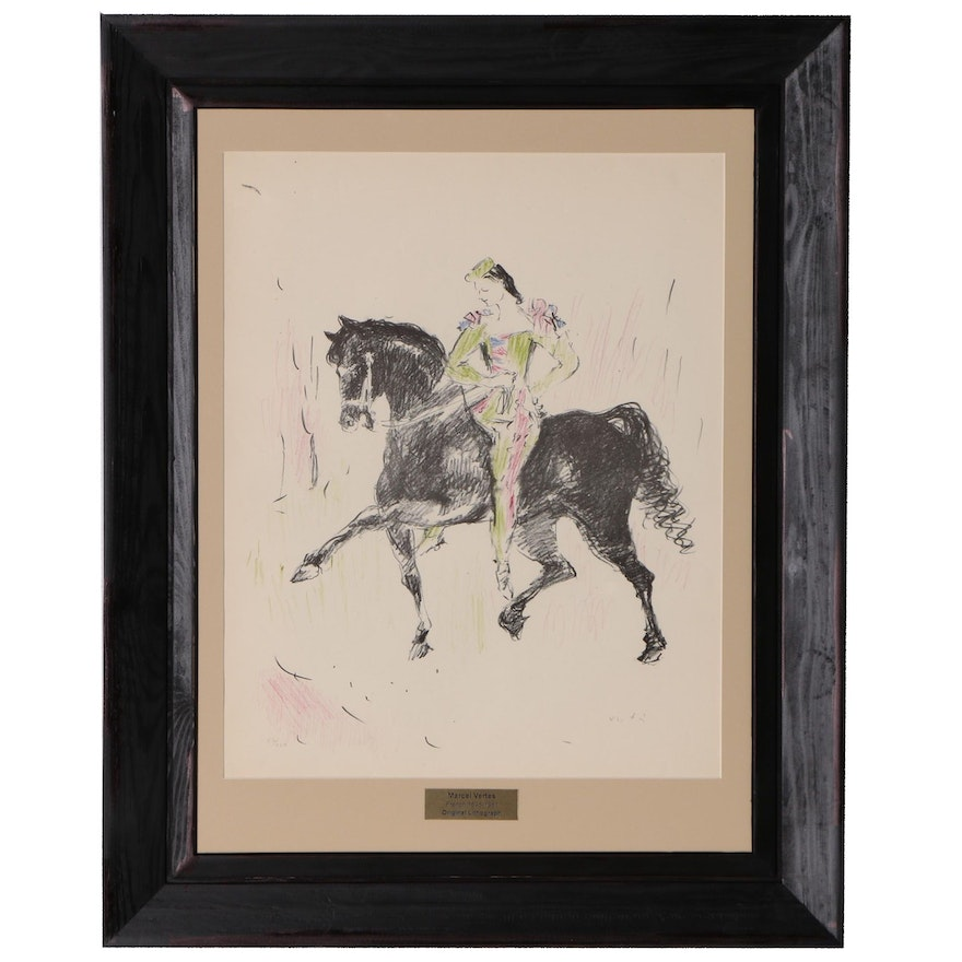 Marcel Vertes Lithograph of Harlequin on Horseback, Mid 20th Century