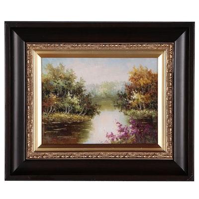 Summer Lake Landscape Oil Painting, 21st Century