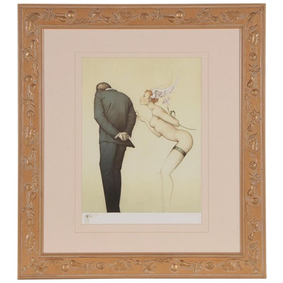 "Michael Parkes Lithograph ""A Gift for the Disillusioned Man"", 1990"