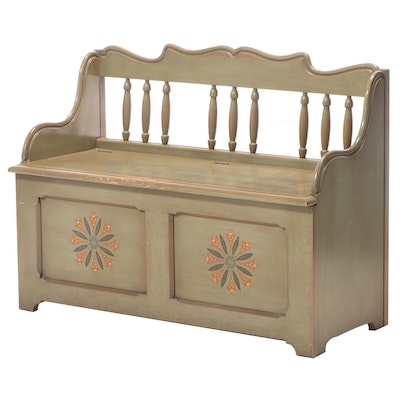 """Drexel """"American Treasure"""" Polychrome-Decorated Storage Bench, Mid-20th Century"""
