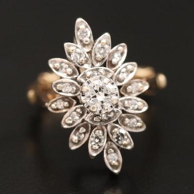 14K Diamond Cluster Ring with Arthritic Euro Shank
