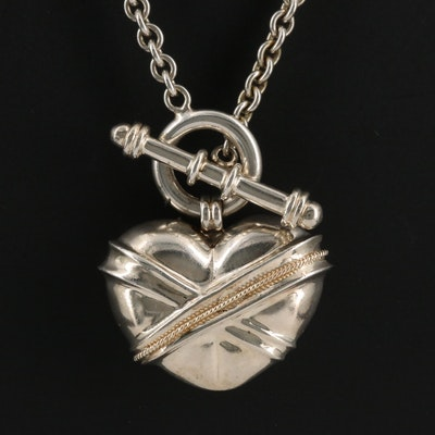 Sterling Silver Puff Heart Necklace