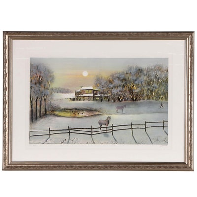 Antonio Rivera Lithograph of Horses in Snowy Landscape