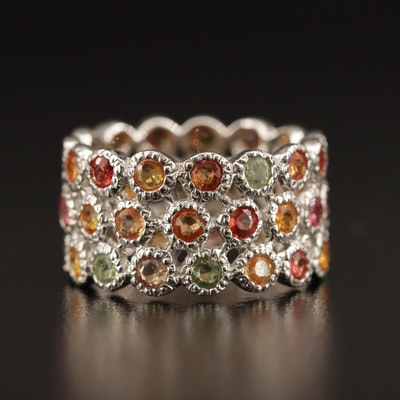 Sterling Silver Multi-Row Sapphire Band