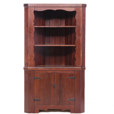 American Primitive Pine Two-Piece Corner Cupboard, 20th Century