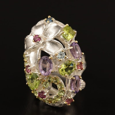 Sterling Amethyst, Peridot and Garnet Floral Ring