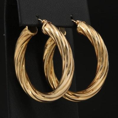 14K Twisted Hoop Earrings