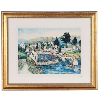 """Jeremy King Color Lithograph """"Polperro"""", 1993"""