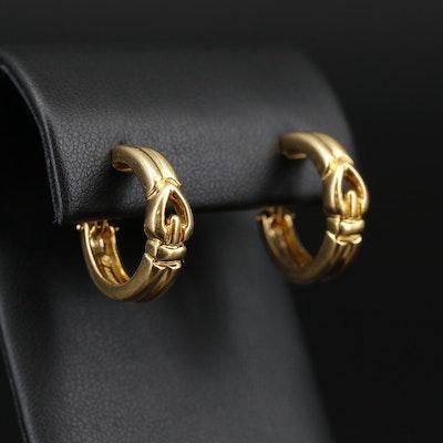 Movado 18K Buckle Hoop Earrings