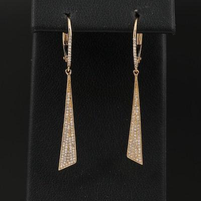14K Pavé Diamond Triangular Dangle Earrings
