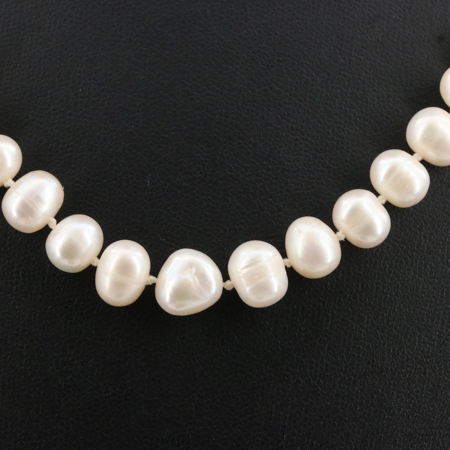 Hand Knotted Oval Pearl Strand Necklace with 14K Clasp