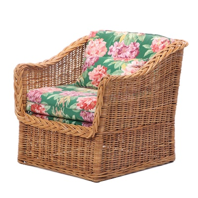 Woven Rattan Armchair with Floral Cushions, Late 20th Century