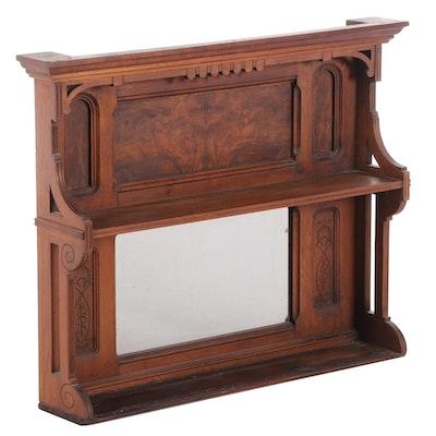 Victorian Walnut & Figured Walnut Mirror-Back Superstructure, Late 19th Century