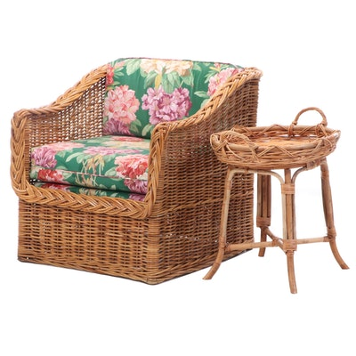 Woven Ratan Arm Chair, Floral Seat Cushions and Side Table, Late 20th Century