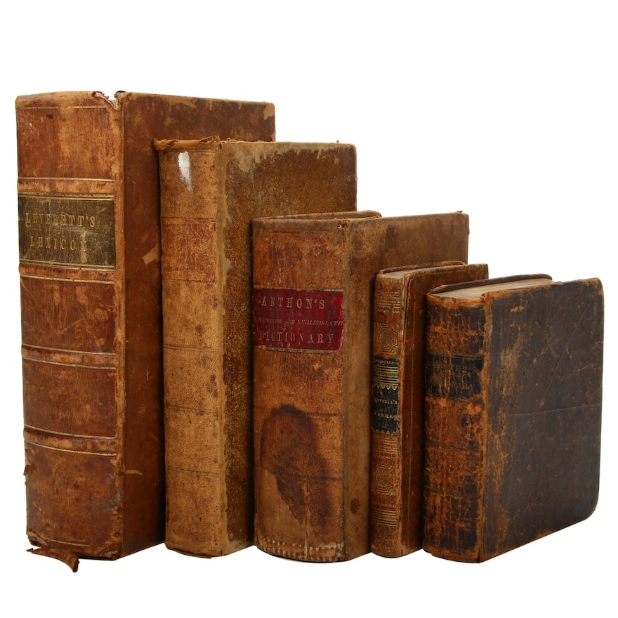 Leather Bound Poetry, Play, and Reference Books, Early to Mid 19th Century