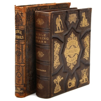 Embossed Leather Bound Illustrated Religious Reference Books, 1866 and 1904
