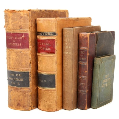 Leather Bound Law, Politics, and Reference Books, Mid to Late 19th Century