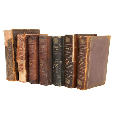 """""""Masonic Review"""" with Religious and World History Books, Mid-19th Century"""