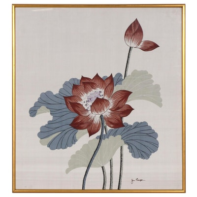Jim Thompson Floral Printed Silk Scarf