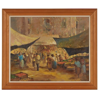 Argentinian Impressionist Style Oil Painting of Market Scene, 20th Century