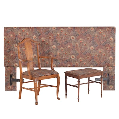 Upholstered Queen Sized Headboard, Fiddle Back Arm Chair and Stool