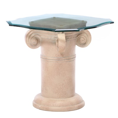 Ideal Originals Contemporary Painted Column Glass Top Side Table