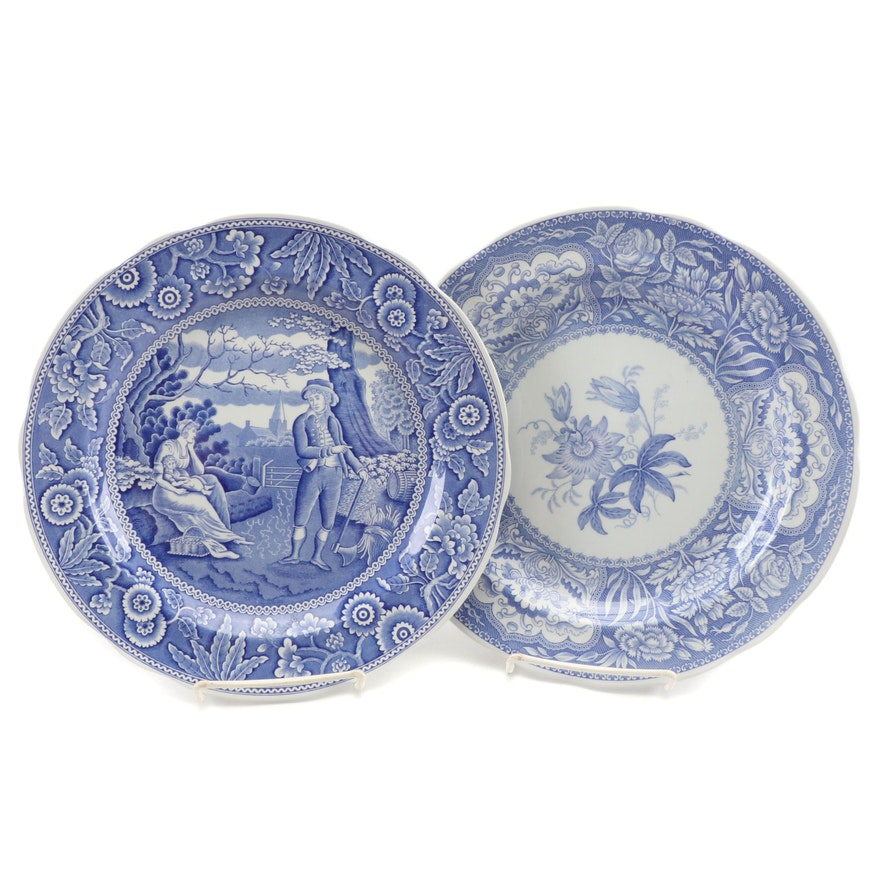 """The Spode Blue Room Collection """"Woodman"""" and """"Floral"""" Earthenware Plates"""
