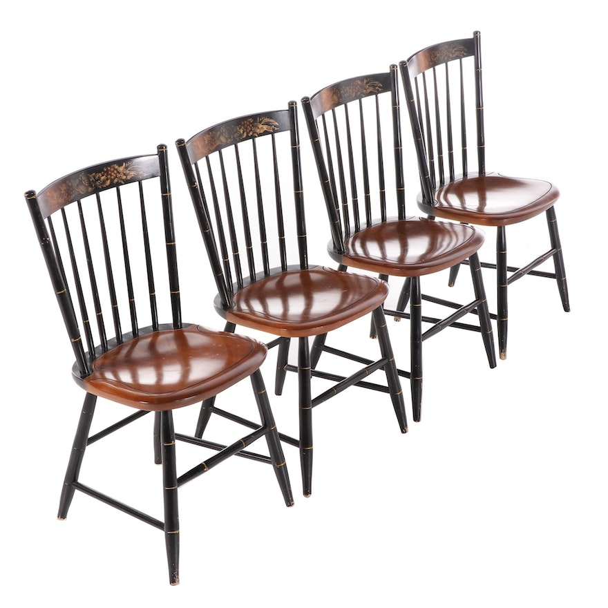 Lambert Hitchcock Stencil Ebonized Cherry Spindle Back Chairs, Mid 20th Century