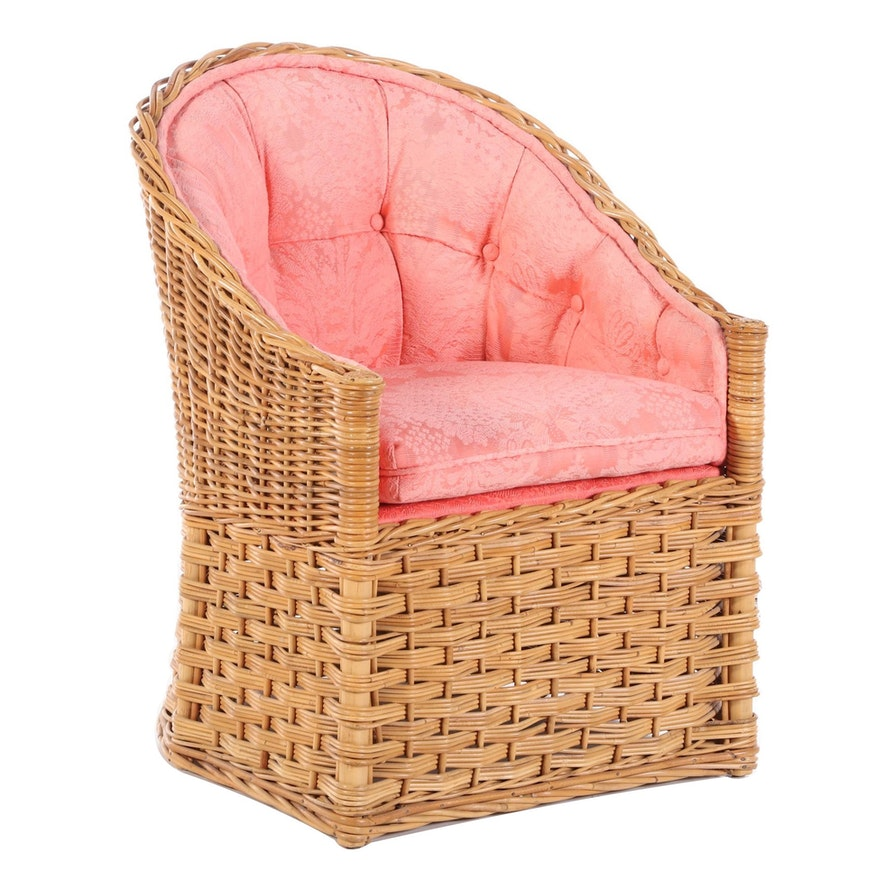 Woven Rattan Armchair with Fitted Cushion, Late 20th Century