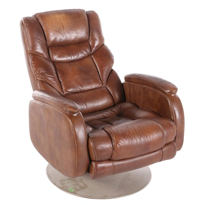 Lane Leather Pillow Back Swivel Reclining Armchair, Late 20th Century