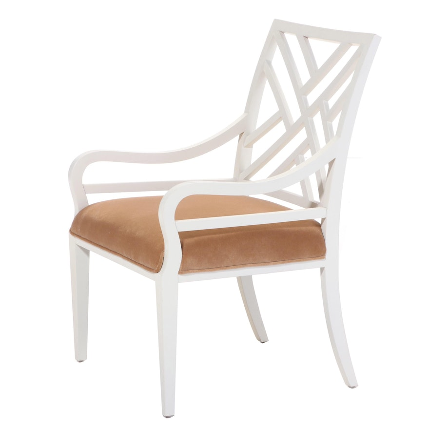 Contemporary Painted Wood Upholstered Armchair