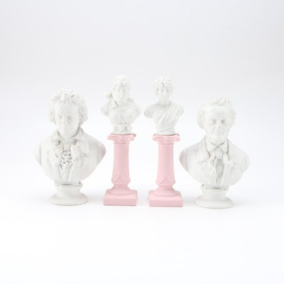 Miniature Bisque Busts of Beethoven, Wagner, and Other Figures