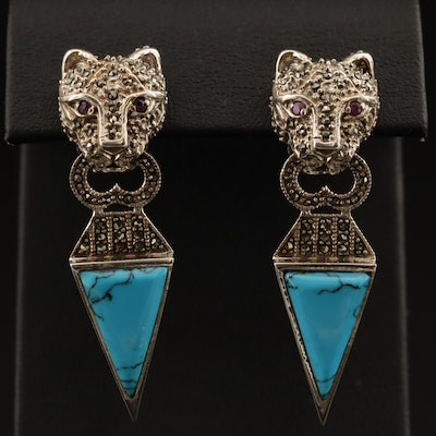 Sterling Silver Faux Turquoise, Ruby and Marcasite Feline Door Knocker Earrings