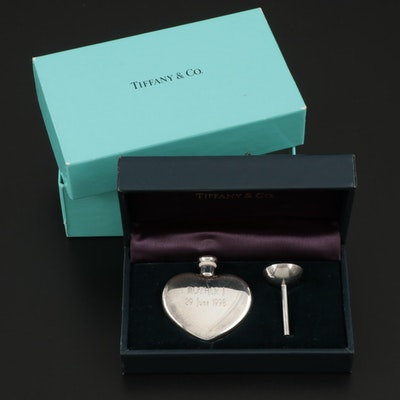 Tiffany & Co. Sterling Silver Heart Shaped Perfume Vile with Funnel