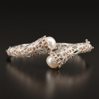 Sterling Pearl and Sapphire Openwork Foliate Hinged Bangle
