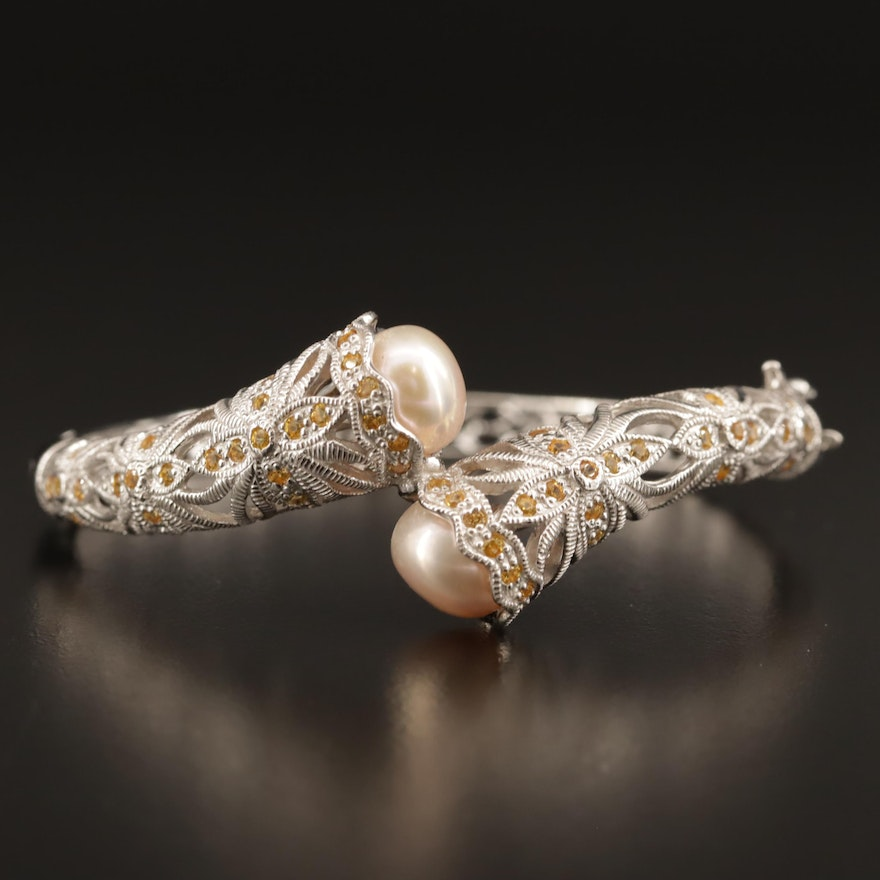 Sterling Pearl and Sapphire Bangle