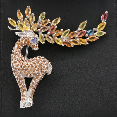 Sterling Tanzanite and Sapphire Deer Motif Brooch
