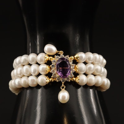 Sterling Amethyst, Pearl and Topaz Bracelet