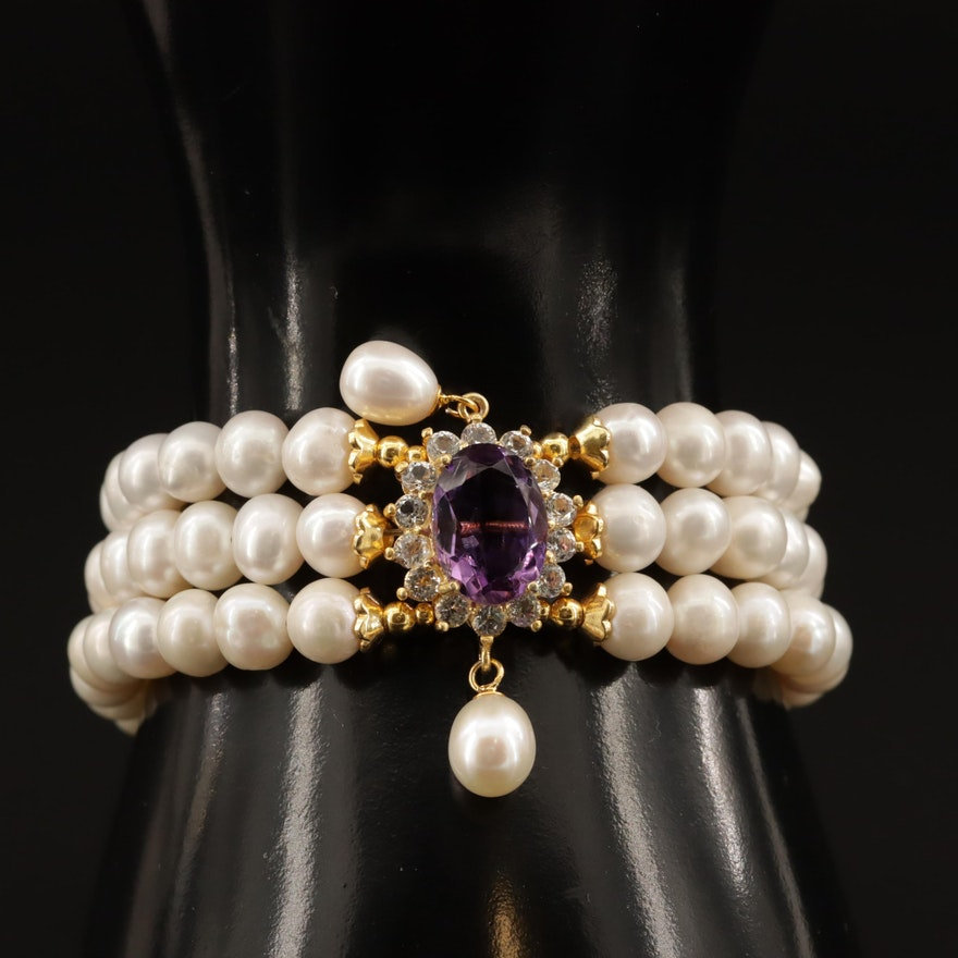 Sterling Amethyst, Pearl and Topaz Bracelet