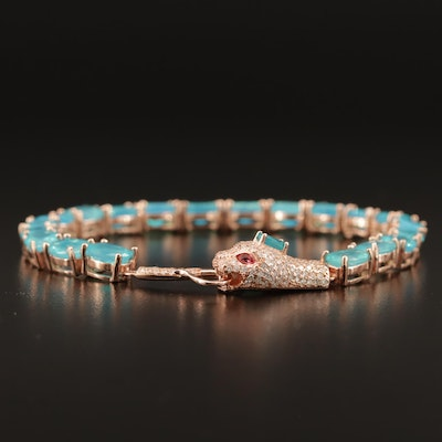 Sterling Silver Opal and Glass Snake Motif Bracelet