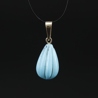 Carved Turquoise Pendant with 14K Bail