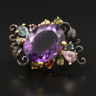 Sterling Silver Amethyst, Tourmaline and Peridot Foliate Motif Brooch