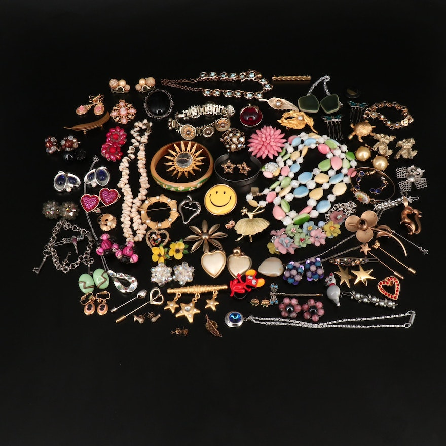 Collection Of Vintage Costume Jewelry Featuring Florenza and Emmons