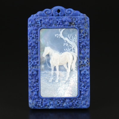 Carved Mother of Pearl and Lapis Lazuli Horse and Landscape Framed Pendant