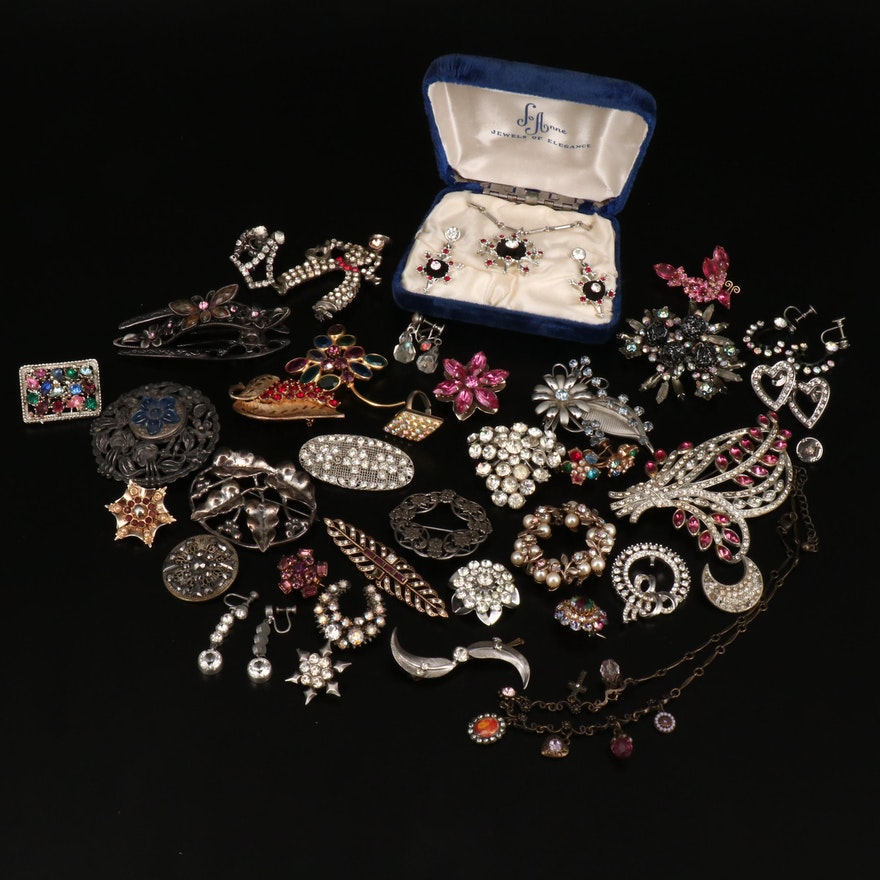 Vintage Rhinestone Jewelry Including Butterfly Hair Barrette