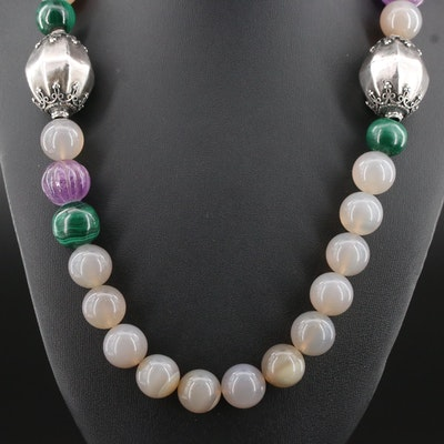 Agate, Malachite and Amethyst Necklace with Sterling Clasp and Accent Beads