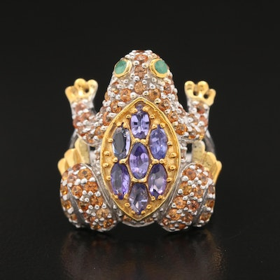 Sterling Tanzanite, Emerald and Sapphire Frog Ring