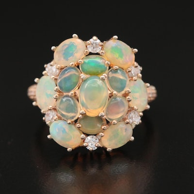 Sterling Silver Opal and Cubic Zirconia Cluster Ring