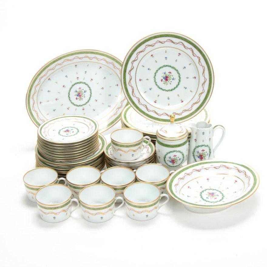 "Haviland Limoges ""Vieux Paris, Vert"" Porcelain Dinnerware for Eight, 1982"